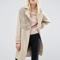 ASOS Biker Coat with Borg Detail at asos.com
