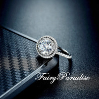 1.5 Carat Double Halo Engagement Ring / Promise Ring, Round Cut Man Made Diamond, Solid 925 Silver, Free Ring Box (Fairy Paradise) ZDR349