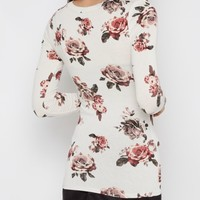 Ivory Rose Print Long Sleeve Shirt | Long Sleeve | rue21