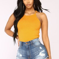 Demi Racer Back Crop Cami II Top - Mustard