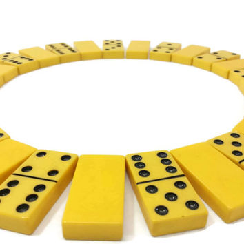Vintage Bakelite Dominoes, Butterscotch Yellow, Set of 28, Repurpose Jewelry Supplies, Game Pieces, Cream Ivory, Game Night