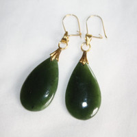 Vintage Jade Earrings Tear Drop Dangle 1980s Estate  Jewelry