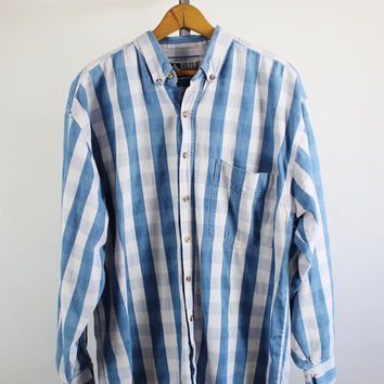 SALE - Retro 90s Mens Blue White Striped Plaid Shirt - Mens Size Large