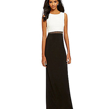 Betsy & Adam Beaded Waist Popover Gown - Ivory/Black/Antique