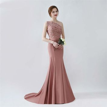 Elegant Long Mermaid Blush Brown Bridesmaid Dresses One Shoulder Floor Length Brides Maid Dress with Sash On