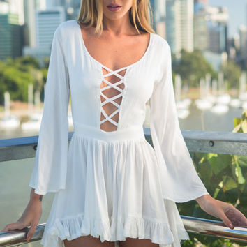 White Bell Sleeve Cutout A-Line Pleated Romper