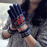 FunShop Snowflake and Rhombus Pattern Knitted Gloves for Women Brown D1126