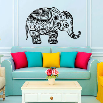 Wall Decal Vinyl Sticker Decals Art Home Decor Design Murals Indian Elephant Floral Patterns Mandala Tribal Buddha Ganesh Bedroom Dorm AN555