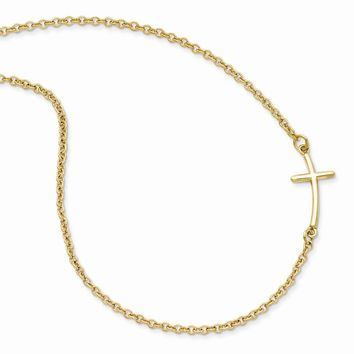 Sterling Silver Yellow Gold-plated Small Sideways Curved Cross Necklace