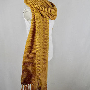 Chunky Mustard Blanket Knit Scarf - Gold Cover - Women's Knit Wrap - Long Winter Scarf - Deep Yellow Extra Wide Scarf