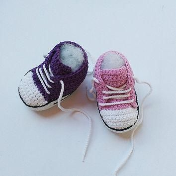Pink Crochet Baby shoes, Purple Crochet Baby shoes, Baby sneakers, Converse style croc