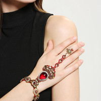 Ruby River Ring-To-Wrist Bracelet
