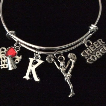 Custom Love to Cheer Coach Cheerleader Expandable Charm Bracelet Silver Adjustable Wire Bangle Gift Trendy Stacking