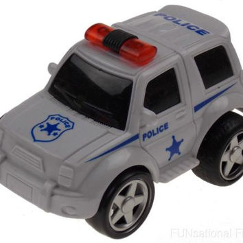 Lot 6 Police White 4WD Super Truck Jeep Pull Back Toy Car Party Favor Moves Runs