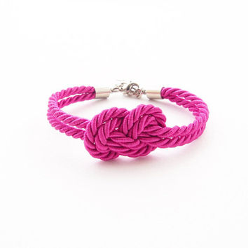 Fuchsia pink bridesmaid bracelet - sailor knot bracelet - tie the knot bracelet -nautical wedding gift - pink wedding