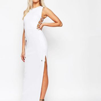 ASOS | ASOS Lace Up Side Scuba Maxi Dress at ASOS