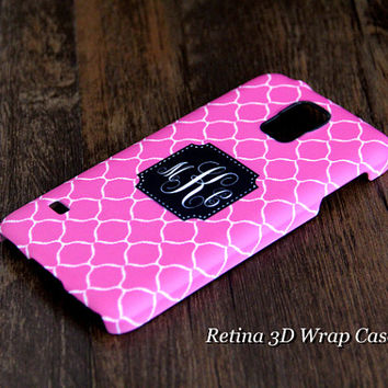 Simple Circle Custom Monogram 3D-Wrap Samsung Galaxy S5 Case Galaxy S4 Case Galaxy S3 Case Galaxy Note 3 and Note 2 Case