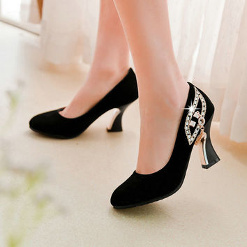 2017 New Fashion Women Shoes High Heel Flock Shallow Mouth Round Toe Black Pumps Shoes Woman Crystal Shoes Spring Autumn Size 43