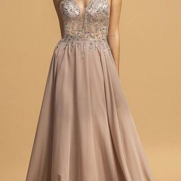 1890f791f73 Mauve Chiffon Floor-Length Prom Dress V-Neck and Back