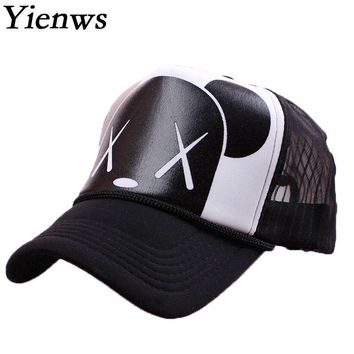 Yienws Women Baseball Cap Summer Cap Snapback Gravity Falls Bone Brim Curved Kawaii Bear Mesh Korean Pop YH221