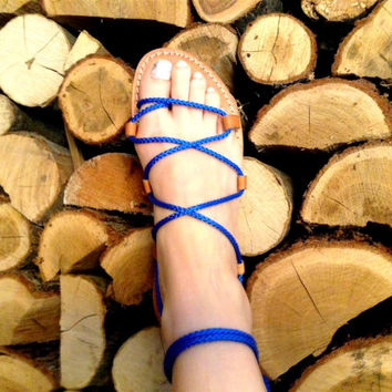 Gladiator Sandals - Electric Blue Rope
