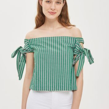 Tie Side Stripe Bardot Top | Topshop