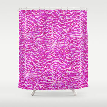 Pink Glitter Animal Print 02 Shower Curtain by Aloke Design