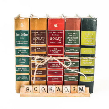 Decorative Book Stack in Green, Gold, Red and Tans / Reader's Digest Set