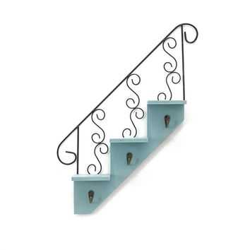Wooden Stair Shaped Shelves Wall Mounted Iron Scroll Detail Decorative Wall Art