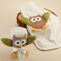 Owl Plush Velour Baby Blanket