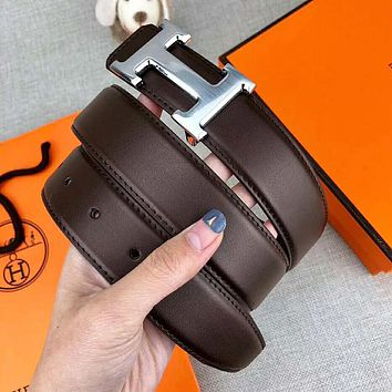 Hermes New fashion H letter buckle leather couple belt width 3.4cm Coffee