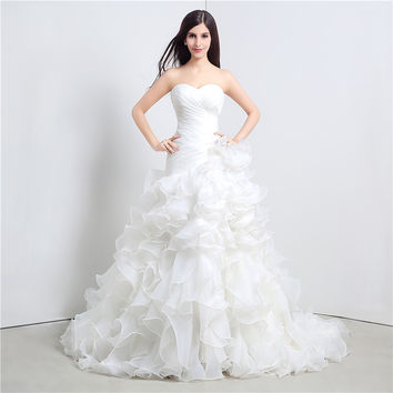Sweetheart princess wedding dresses Organza vintage wedding dress vestidos de novia Layered Wedding Gown
