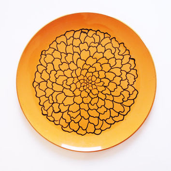 Large Flower Platter / Orange Tray / Mid Century Decor / Floral Serving Plate / Centerpiece