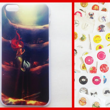 iPhone6Plus Ariel Case + Bubble Home Button Stickers Pack Disney The Little Mermaid inspired hard case cover back for iPhone 6 Plus iPhone6+
