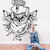 """Pirate Skull Wall Decal, Pirate Skull Jolly Roger Wall Sticker, Pirate Decal Kids Room Decor, """"Welcome Aboard"""" Pirate Room Decor Art se135"""