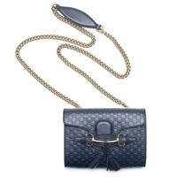 DCCKUG3 Gucci Micro Guccissima Margaux Navy Blue Leather Shoulder Handbag Bag New Small