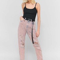 BDG Pink Acid Wash Destroyed Mom Jeans | Urban Outfitters