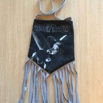 WIZ KHALIFA - Upcycled Rock T-Shirt Fringe Purse - ooaK