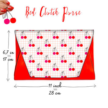 Cherries Clutch Chic Red Faux Leather Purse With Magnetic Snap Closure