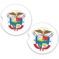 Panama World Flag Coat Of Arms Sandstone Car Cup Holder Matching Coaster Set