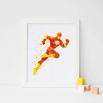 The Flash poster, flash print flash watercolor flash superhero wall art printables DC Comics Marvel Nursery Kids Bedroom Baby Giclee Poster