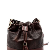 Carried Away Drawstring Bucket Bag-Coffee