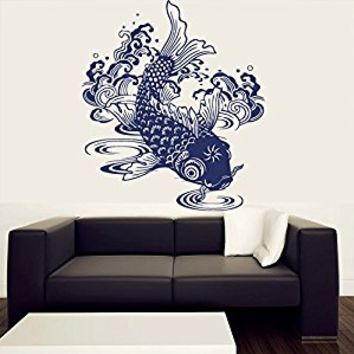 Wall Decal Vinyl Sticker Decals Art Decor Design Carp Fish Sumbol Water Nature Waves Pattern Ocean Nautical Bedroom Dorm Nursery (r452)