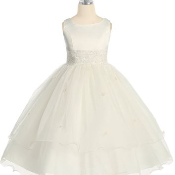 (Sale) Girls Size 12 Ivory Lace Trim Formal Dress w. Tiered Lettuce Trim Tulle Skirt