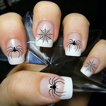 Free Shipping - 52 SPIDERS and WEBS Nail Art Decals (SPW) - Gothic Halloween Waterslide Transfers not Vinyl or Stickers