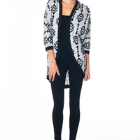 Grey Tribal Print Long Knit Cardigan