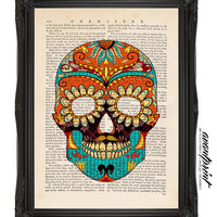 Skull Full of Sugar Collage Original Print on an Upcycled Upcycled Bookpage