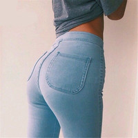 2016 Spring Summer Style Thin Celebrity Women High Stretch Skinny Jeans Woman Pantalones Vaqueros  Denim High Waist Pants