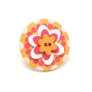 Flower Power Button Ring Groovy Stacked Button by MySweetieBean