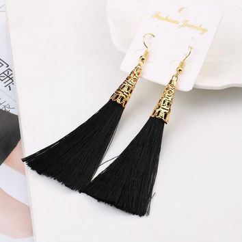 Long Tassel Fiber Earrings